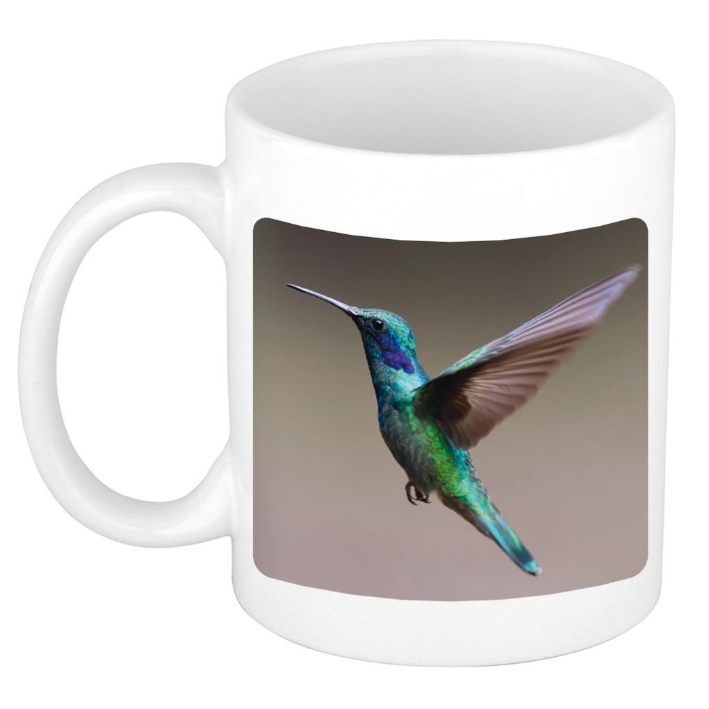 Foto mok kolibrie vogel vliegend mok / beker 300 ml - Cadeau vogels liefhebber