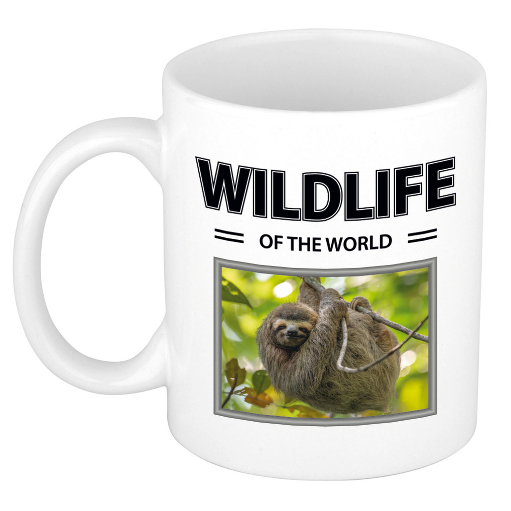 Foto mok Luiaard mok - beker - wildlife of the world cadeau Luiaarden liefhebber