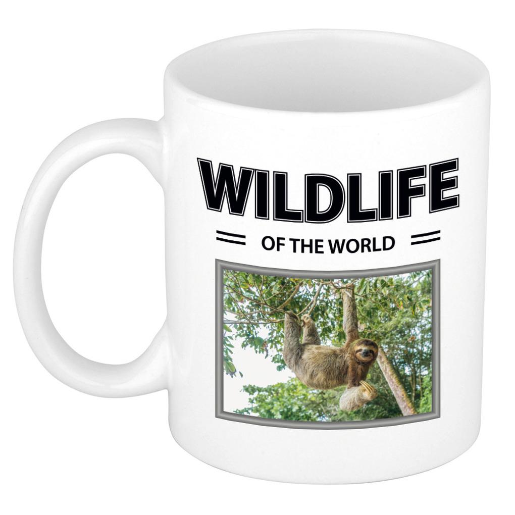 Foto mok Luiaard mok - beker - wildlife of the world cadeau Luiaarden liefhebber