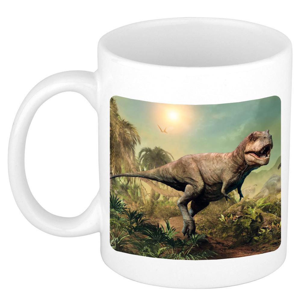 Afbeelding Foto mok stoere t-rex dinosaurus mok / beker 300 ml - Cadeau dinosaurussen liefhebber door Animals Giftshop