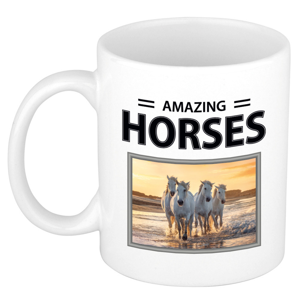 Foto mok wit paard beker - amazing horses cadeau witte paarden liefhebber