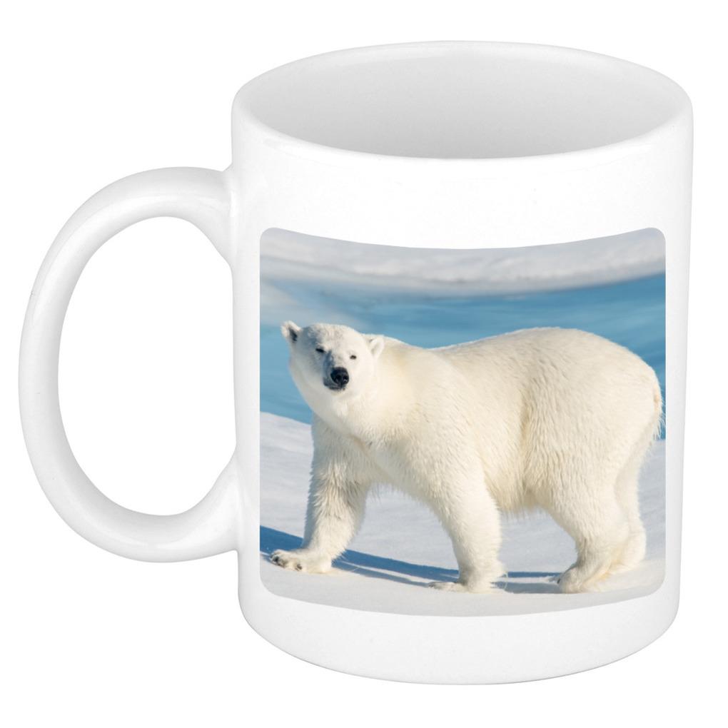 Foto mok witte ijsbeer mok / beker 300 ml - Cadeau ijsberen liefhebber