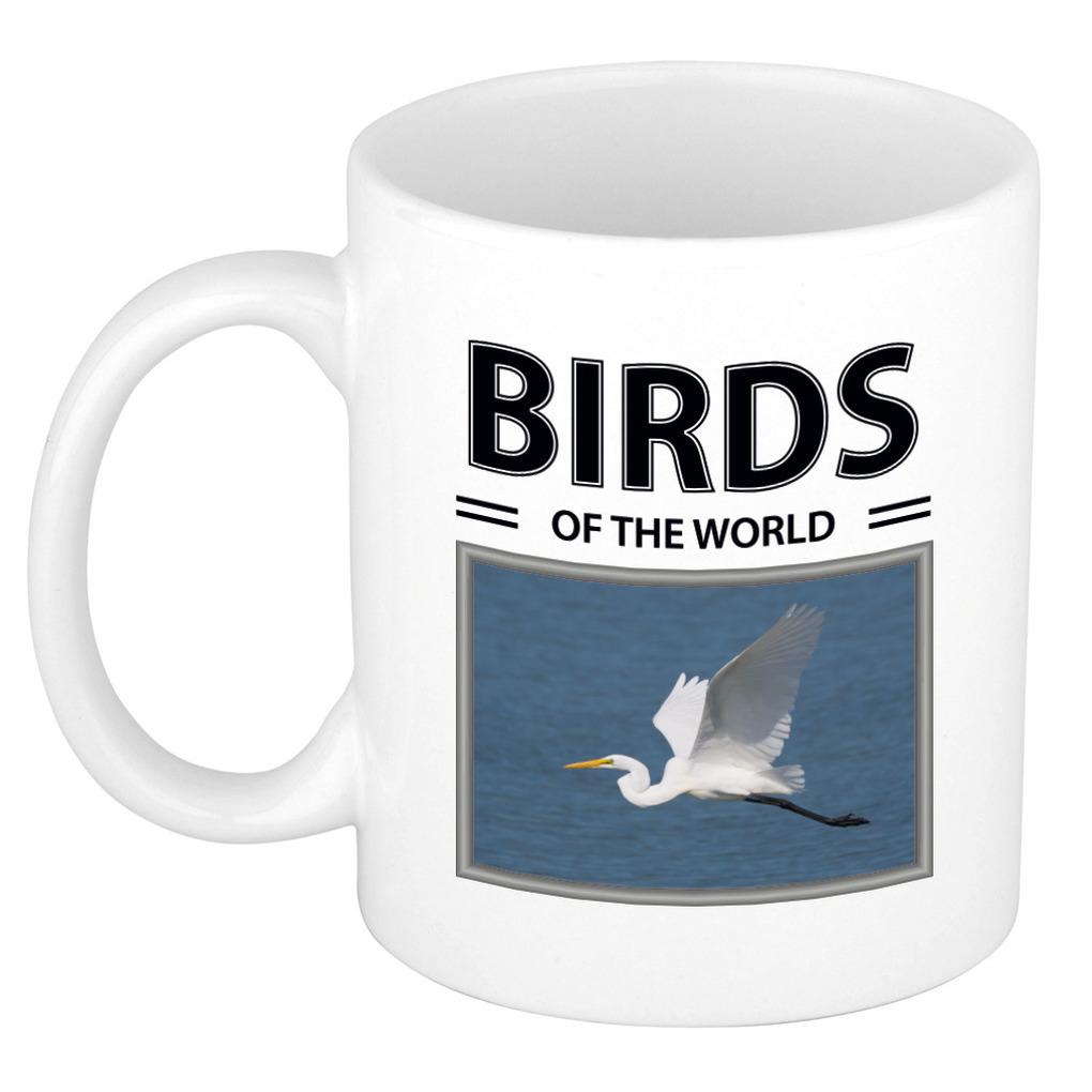 Foto mok Zilverreiger beker - birds of the world cadeau Zilvereigers liefhebber