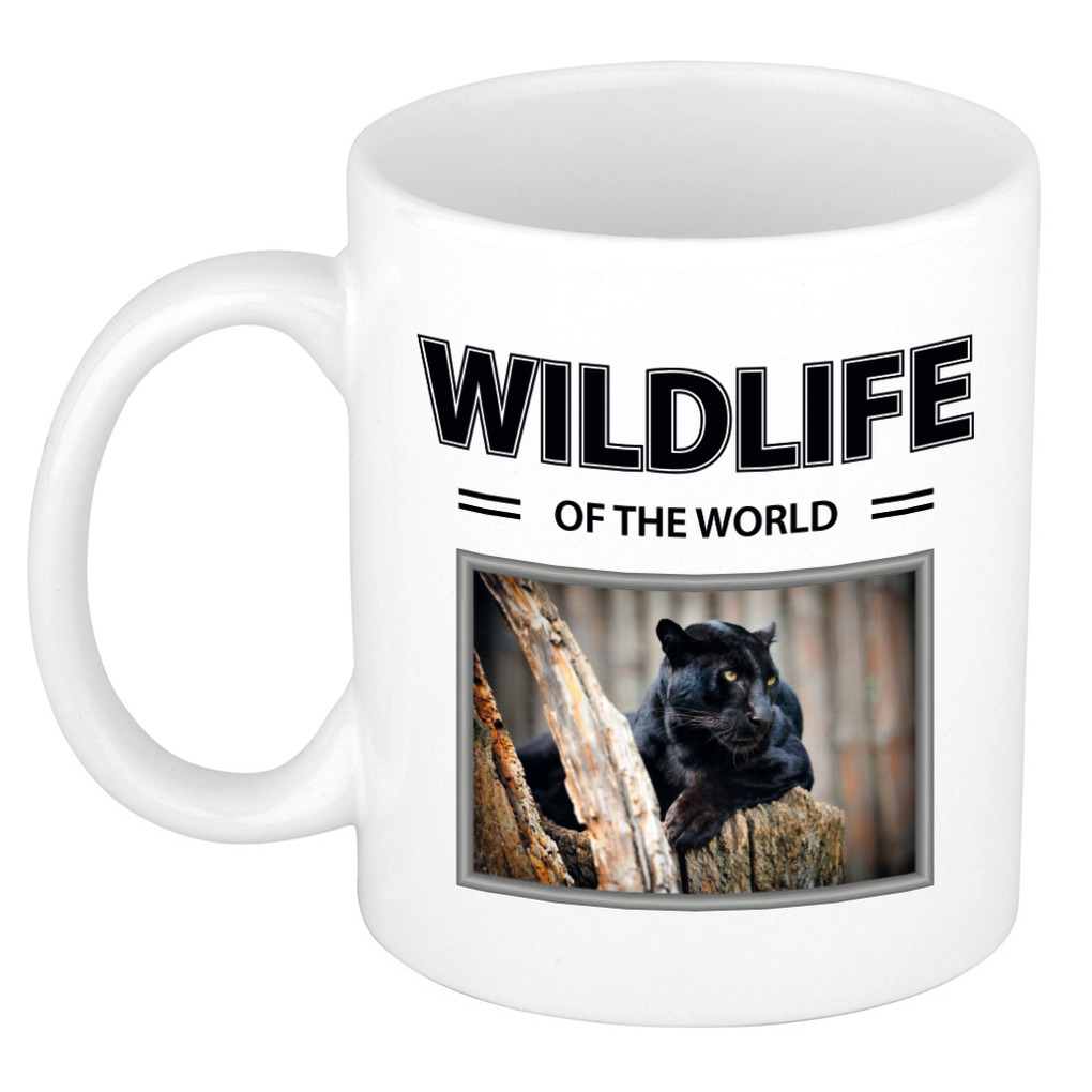 Foto mok Zwarte panter mok - beker - wildlife of the world cadeau Panters liefhebber