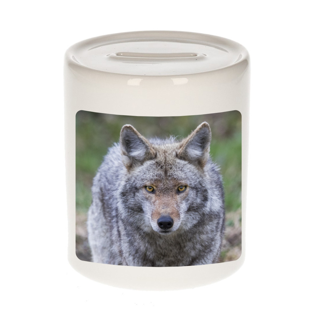 Foto wolf spaarpot 9 cm - Cadeau wolven liefhebber