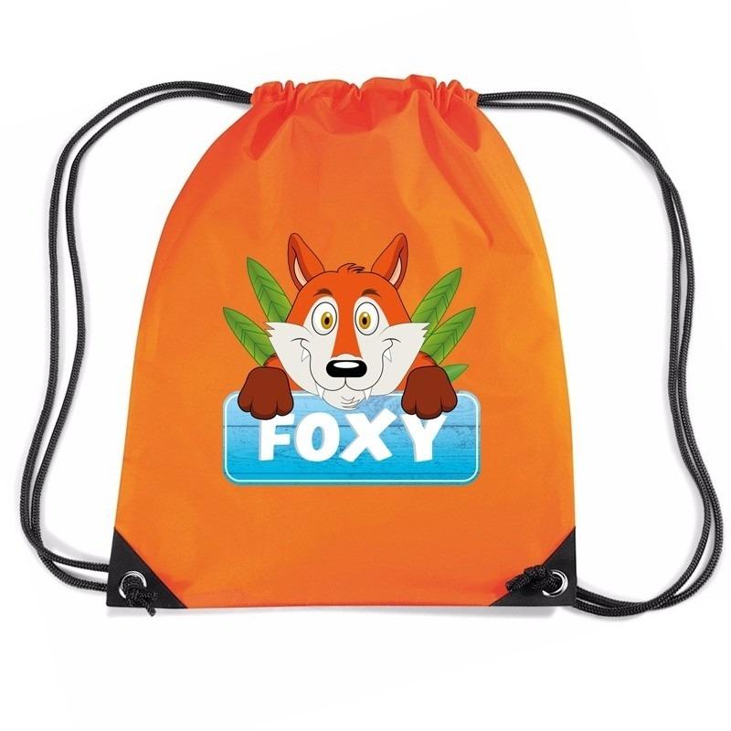 Foxy de Vos trekkoord rugzak - gymtas oranje voor kinderen