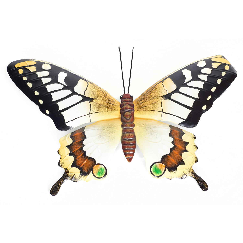 Geel/zwarte metalen tuindecoratie vlinder 48 cm