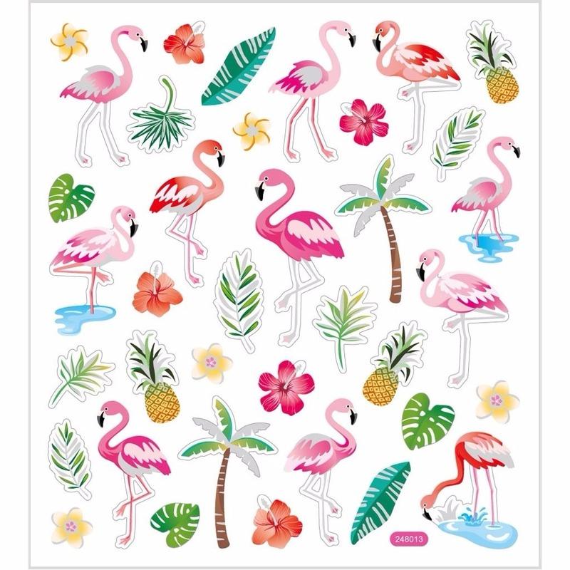 Gekleurde flamingo stickers 37 stuks