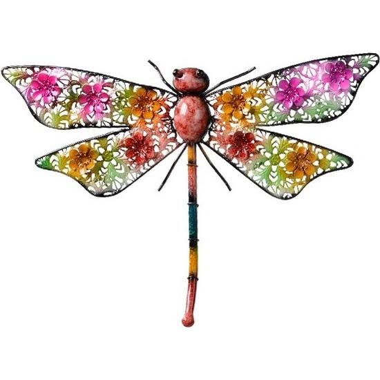 Gekleurde metalen tuindecoratie libelle hangdecoratie 29 x 47 cm cm