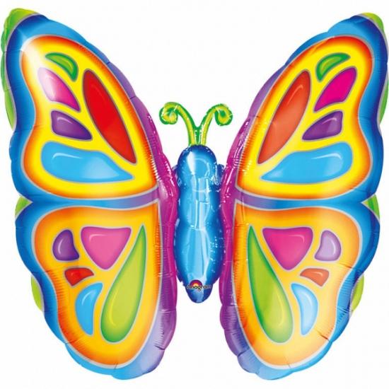Gekleurde vlinder folie ballon 63 cm