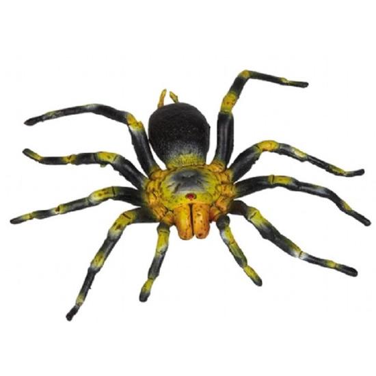 Gele met zwarte plastic spin 16 cm
