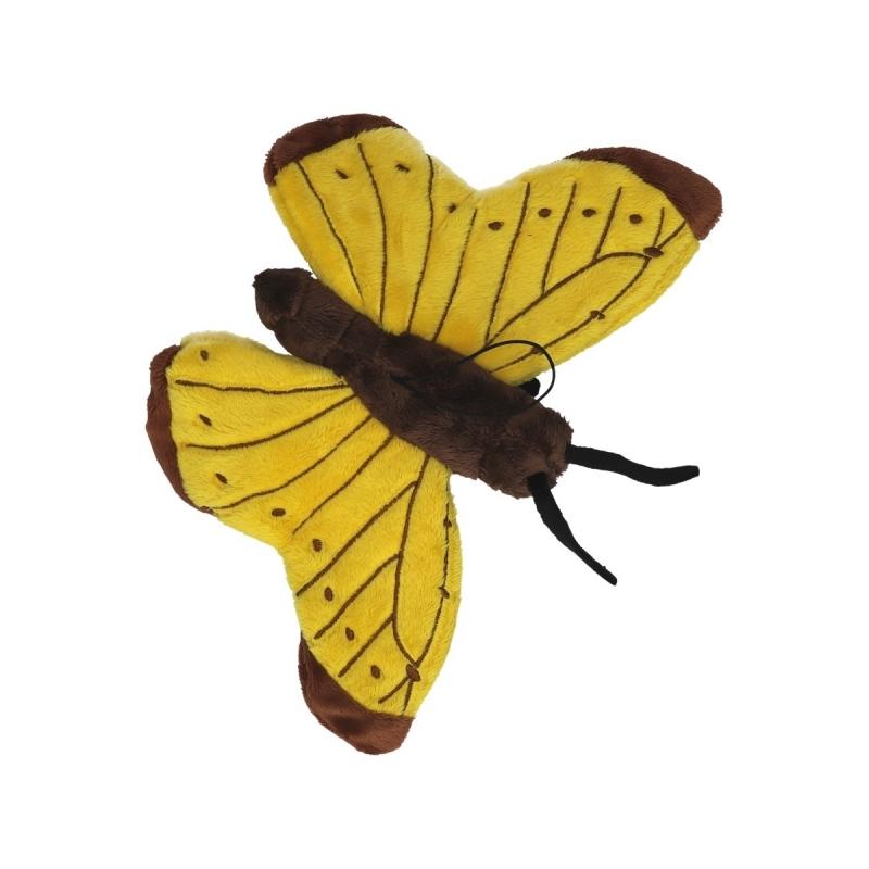 Gele vlinder knuffeldier 21 cm