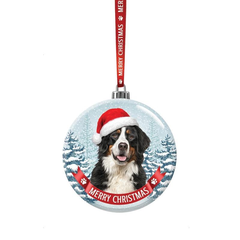 Glazen kerstbal hond Berner Sennen 7 cm