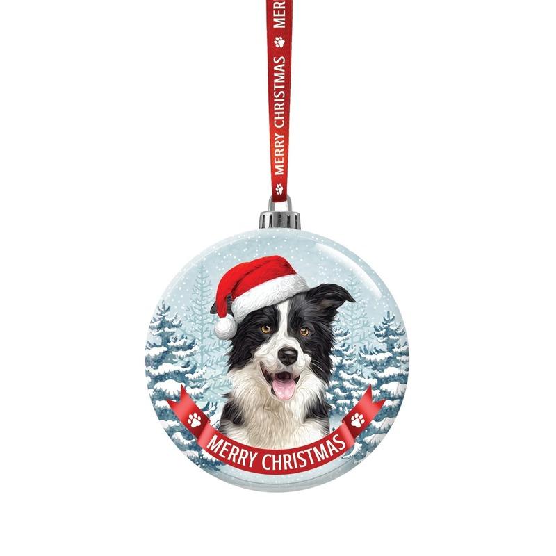 Glazen kerstbal hond Border Collie 7 cm