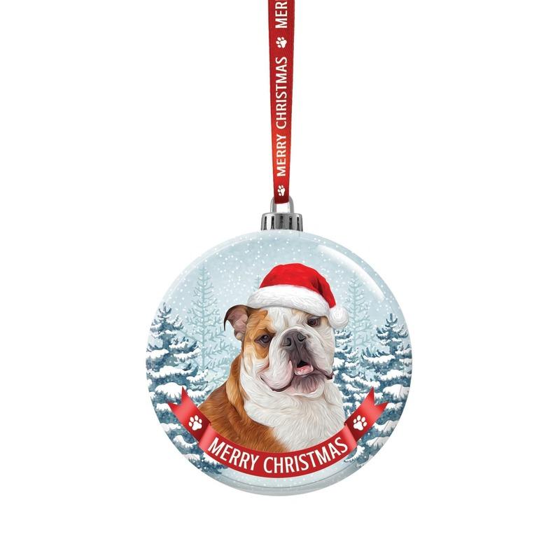 Glazen kerstbal hond Bulldog 7 cm