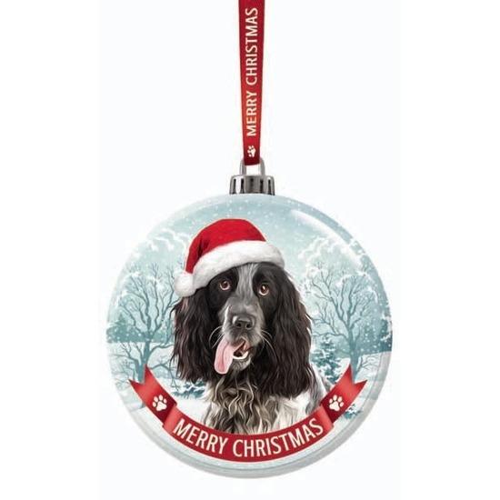 Afbeelding Glazen kerstbal hond Engelse Cocker Spaniel zwart/wit 7 cm door Animals Giftshop
