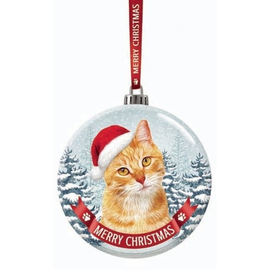 Glazen kerstbal kat/poes rood 7 cm