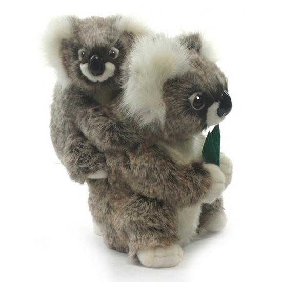 Grijze pluche koala met baby 28 cm