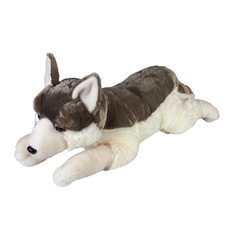 Grijze wolven knuffels liggend 60 cm knuffeldieren