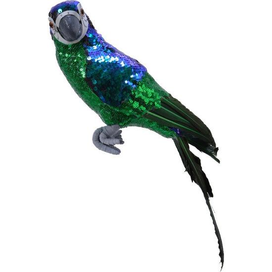 Groen woondecoratie beeld papegaai vogel 40 cm