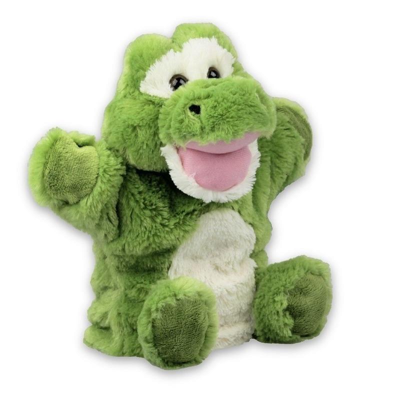 Groene krokodillen handpoppen knuffels 22 cm knuffeldieren