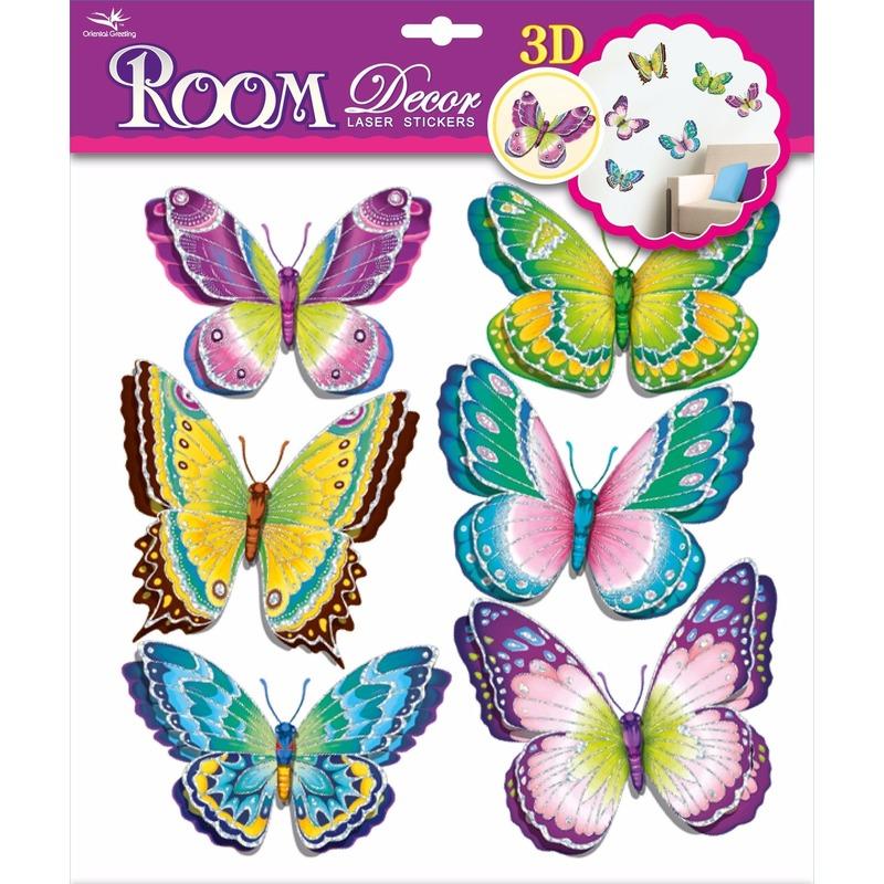 Groene/paarse kinderkamer 3D vlinder stickers 6 stuks