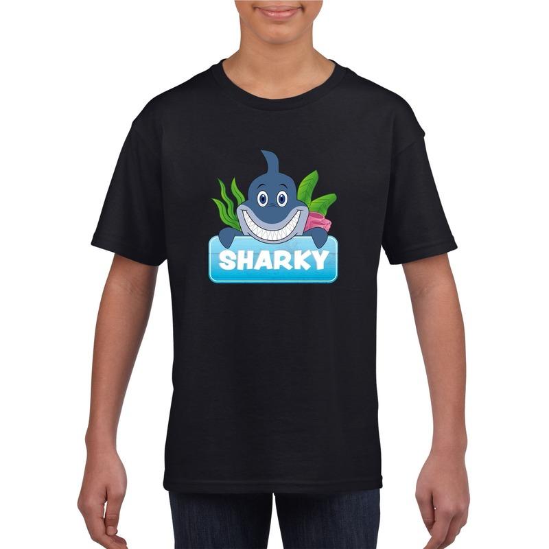 Haaien dieren t-shirt zwart voor kinderen