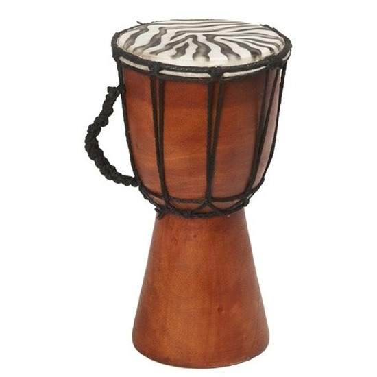 Handgemaakte houten drum met zebraprint 25 cm