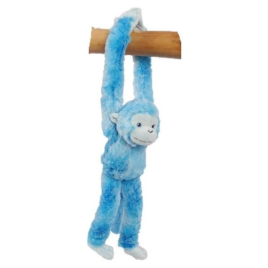 Hangend knuffel aapje blauw 32 cm