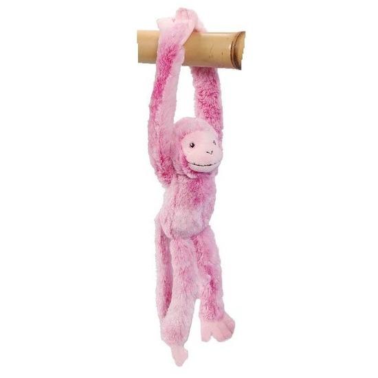 Hangend knuffel aapje roze 32 cm