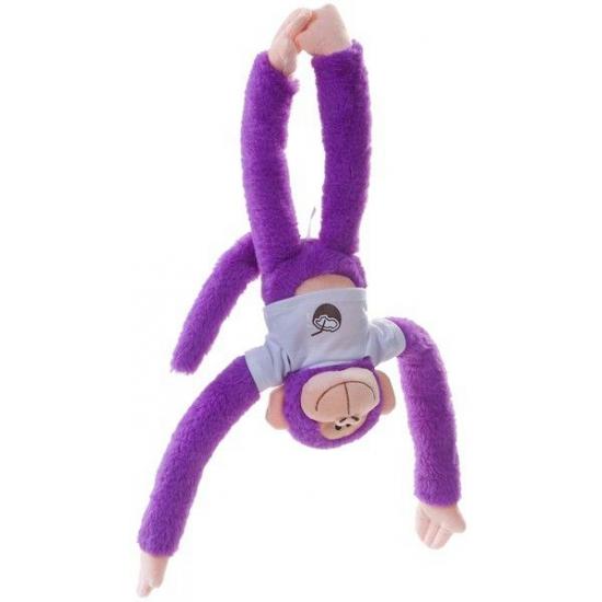 Hangend paars knuffel aapje 40 cm