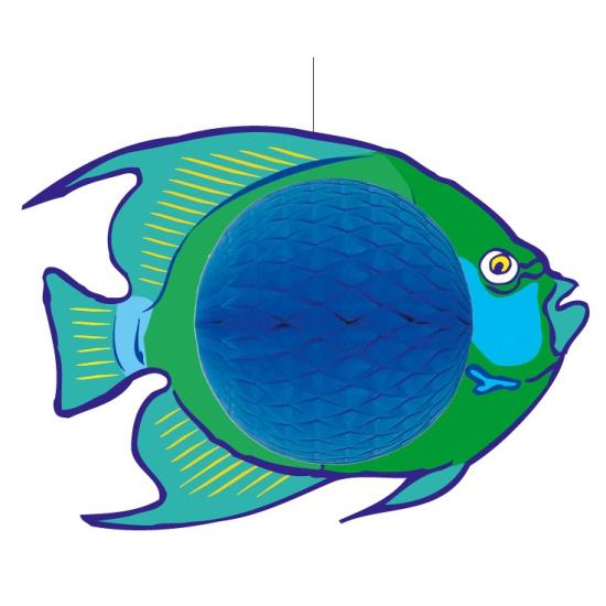Hangende blauwe vis decoratie 28 x 40 cm