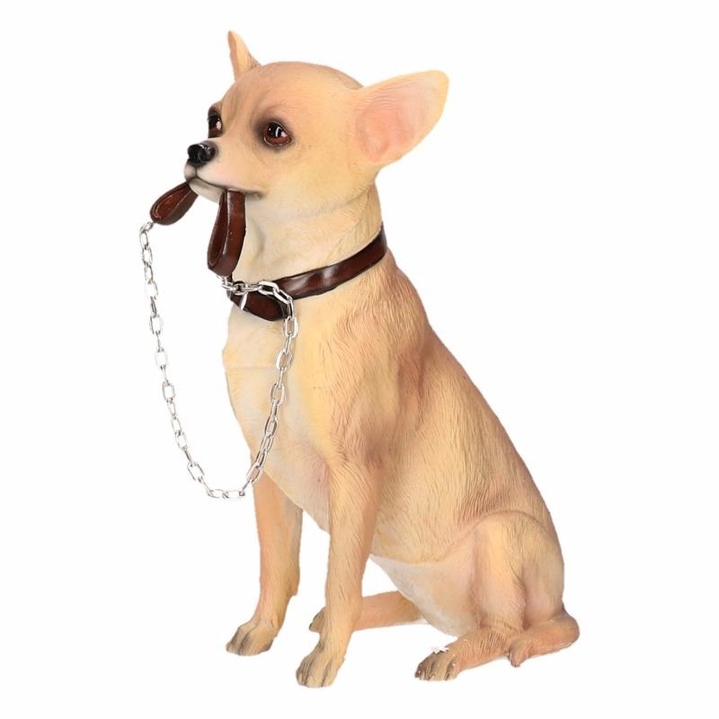 Honden beeldje Chihuahua met riem 18 cm