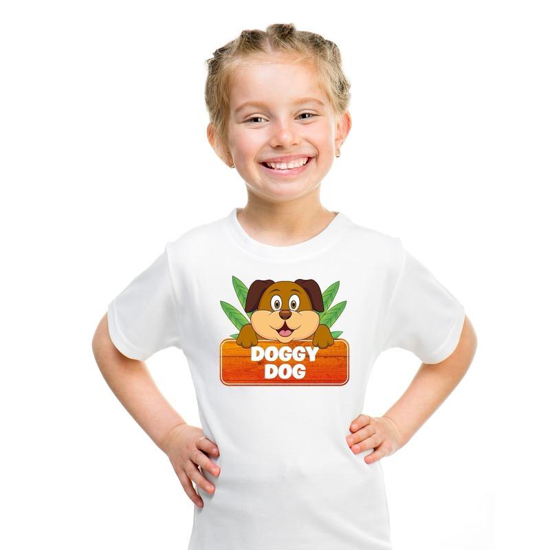 Honden dieren t-shirt wit voor kinderen