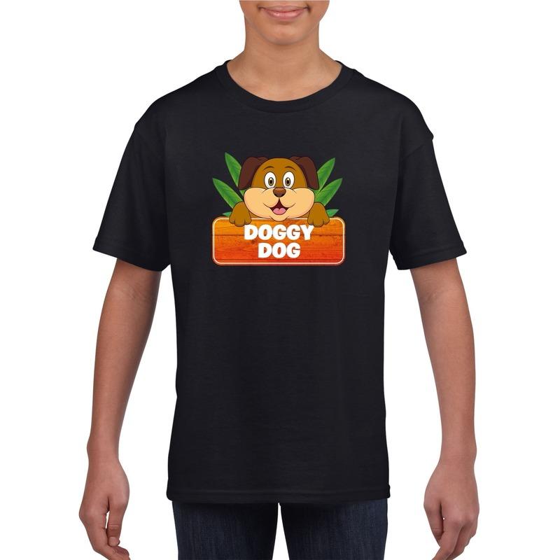 Honden dieren t-shirt zwart voor kinderen