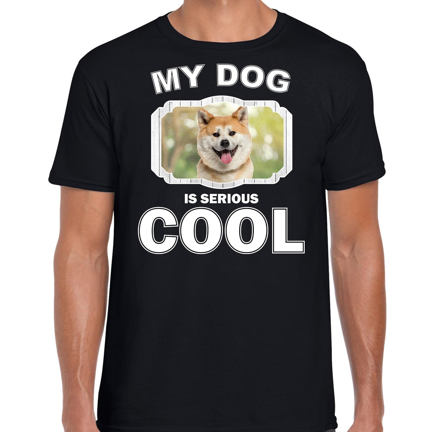 Honden liefhebber shirt Akita inu my dog is serious cool zwart voor heren