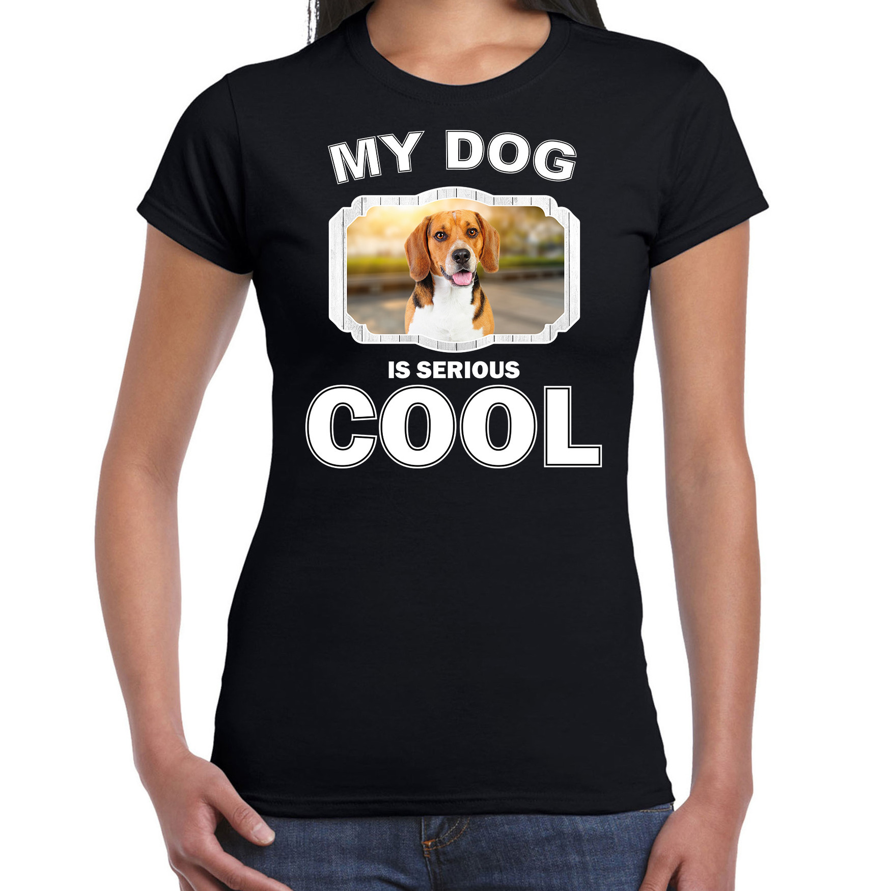 Honden liefhebber shirt Beagle my dog is serious cool zwart voor dames