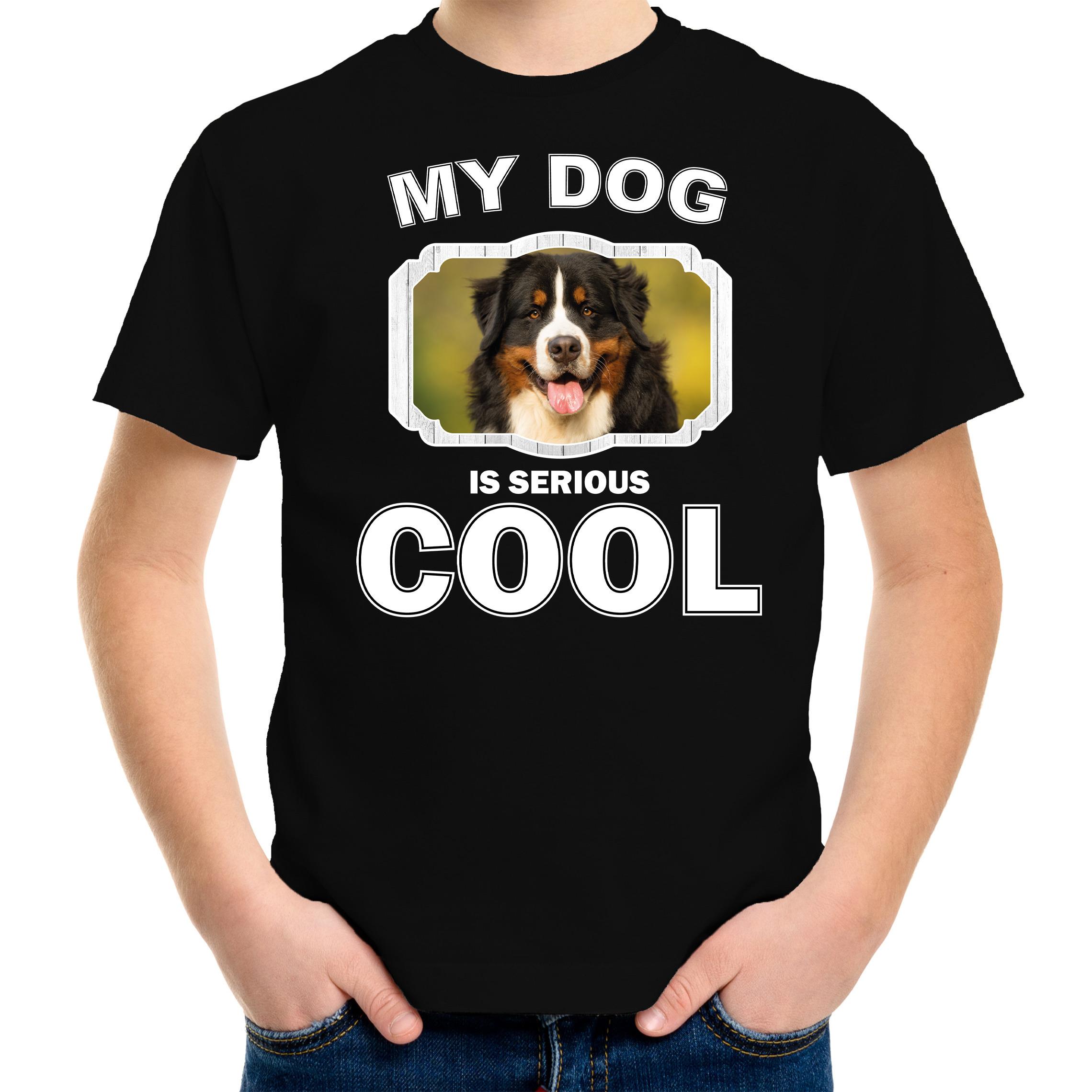 Honden liefhebber shirt Berner sennen my dog is serious cool zwart voor kinderen