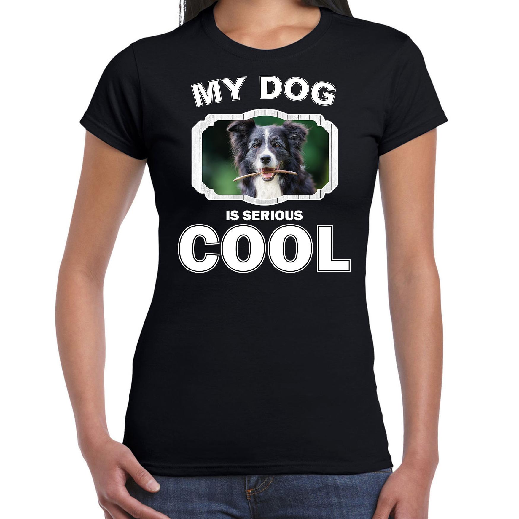 Honden liefhebber shirt Border collie my dog is serious cool zwart voor dames