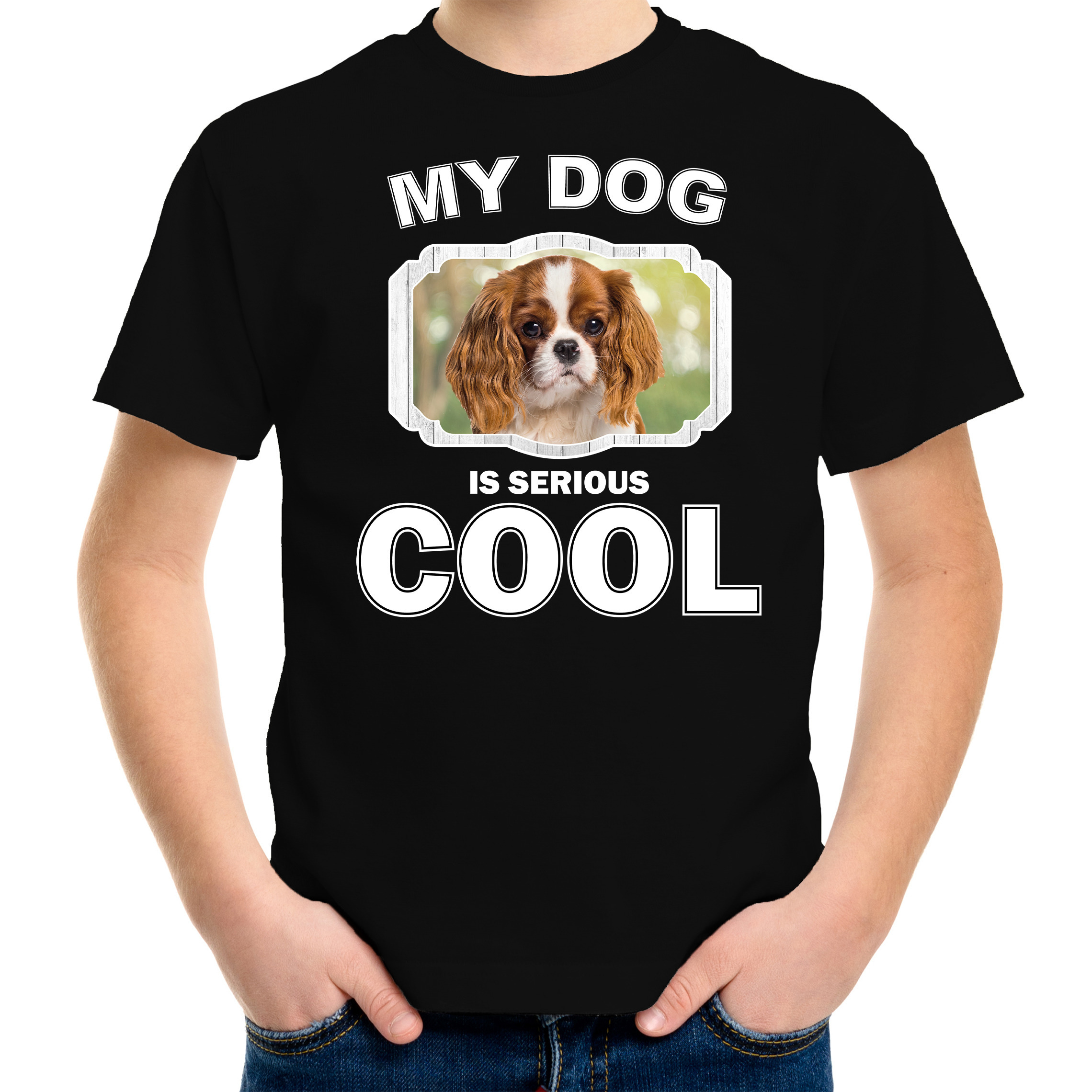 Honden liefhebber shirt Charles spaniel my dog is serious cool zwart voor kinderen