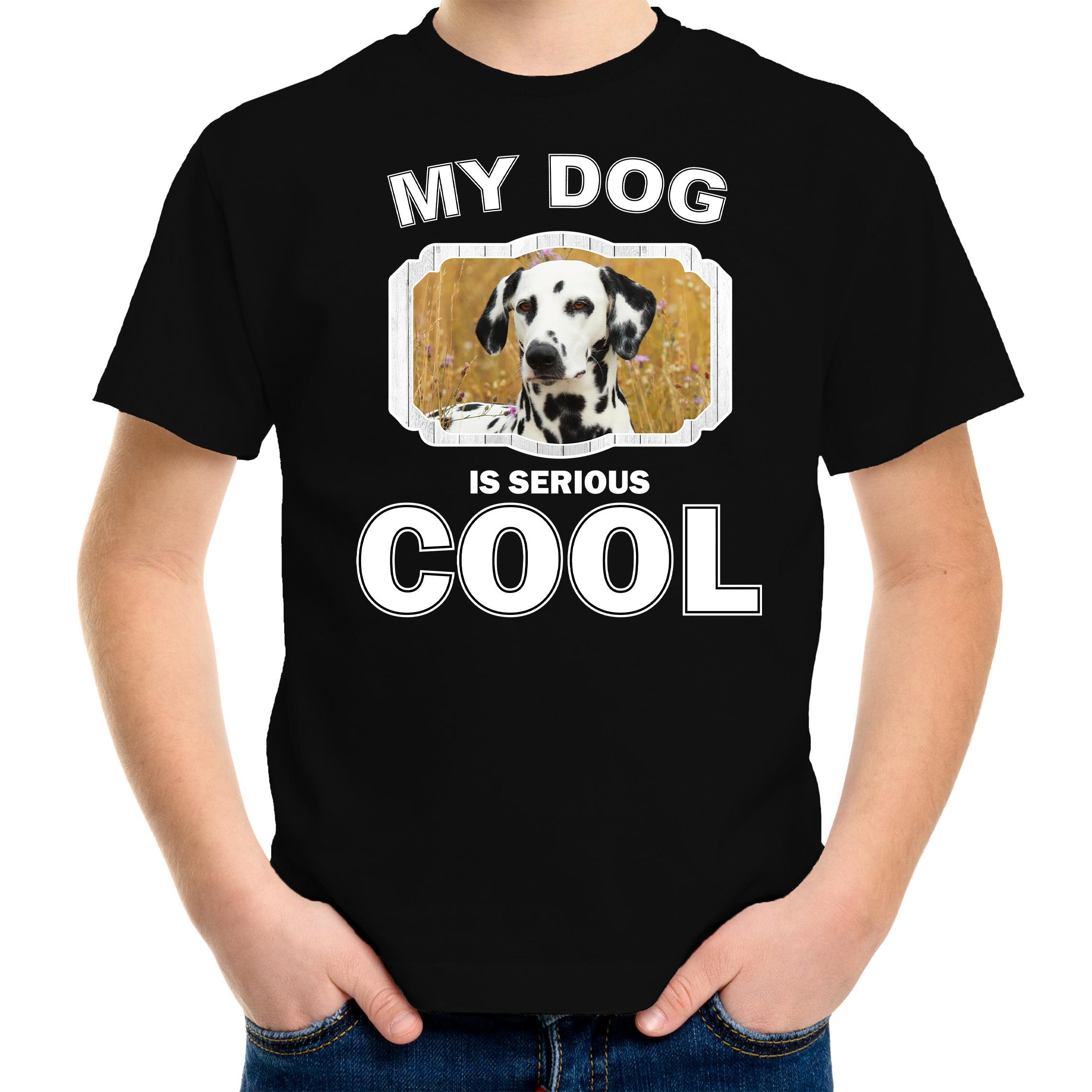 Honden liefhebber shirt Dalmatier my dog is serious cool zwart voor kinderen
