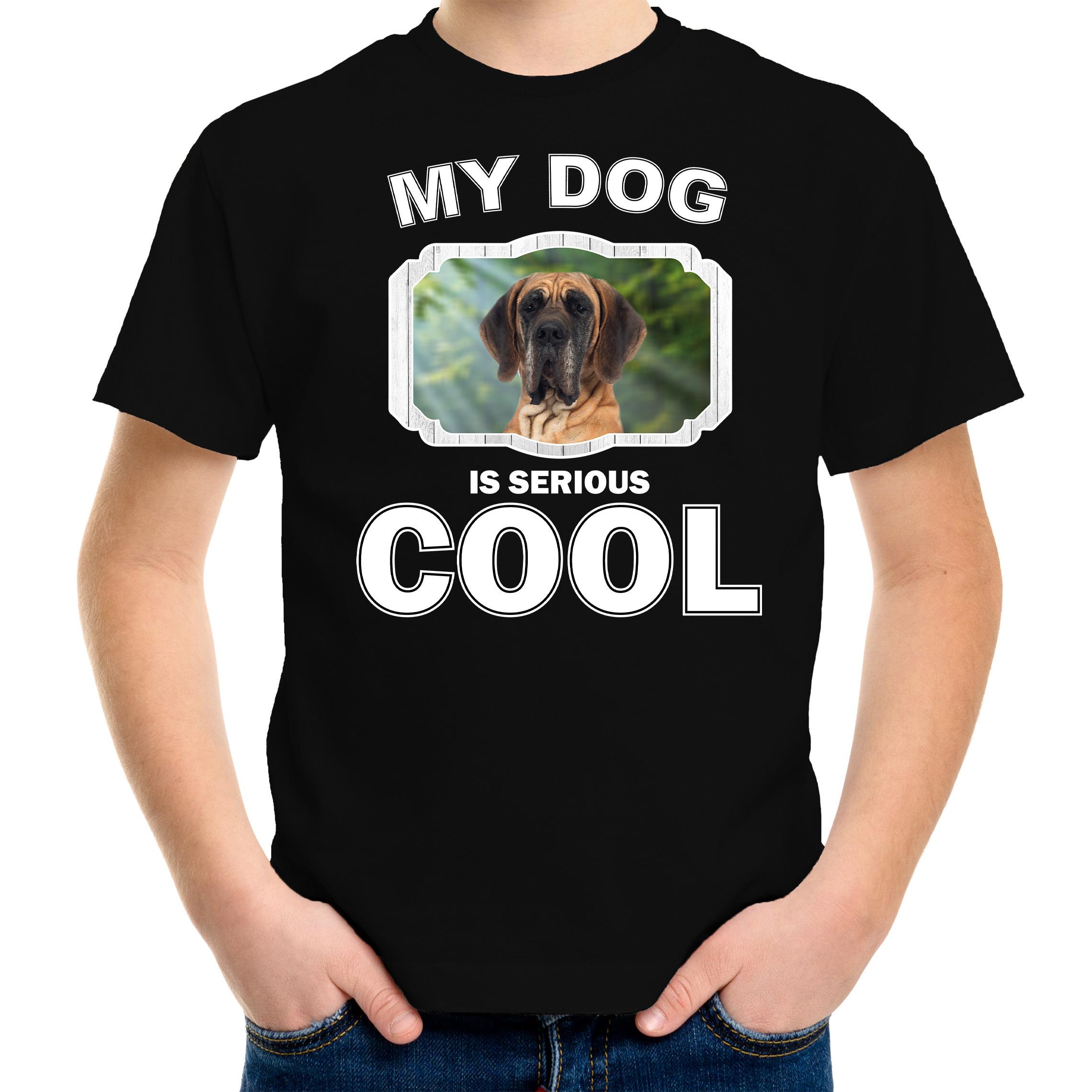 Honden liefhebber shirt Deense dog my dog is serious cool zwart voor kinderen