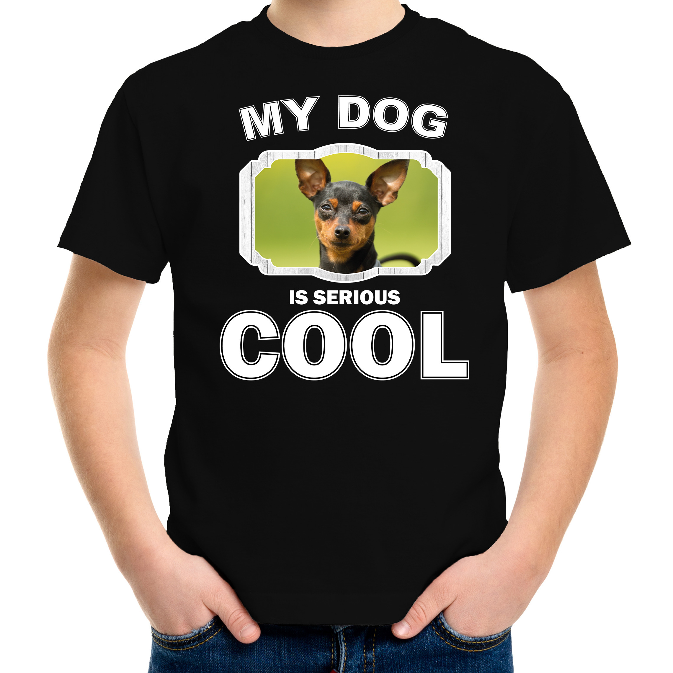 Honden liefhebber shirt Dwergpinscher my dog is serious cool zwart voor kinderen