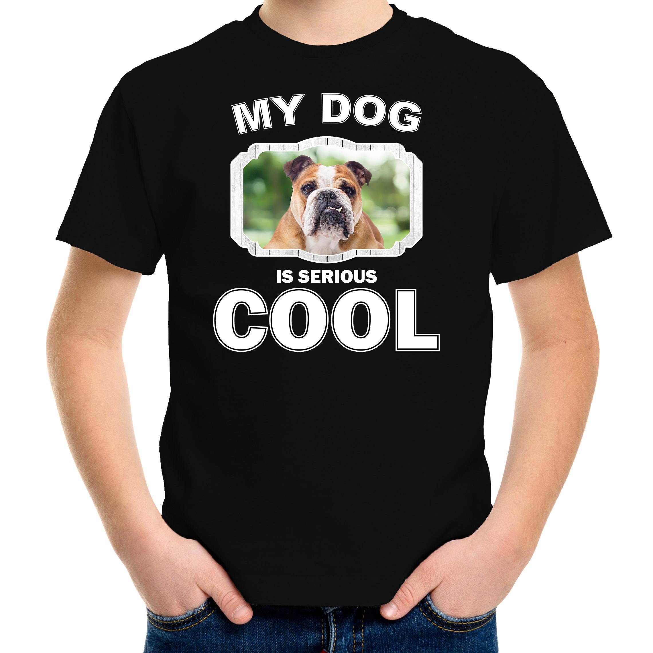 Honden liefhebber shirt Engelse bulldog my dog is serious cool zwart voor kinderen