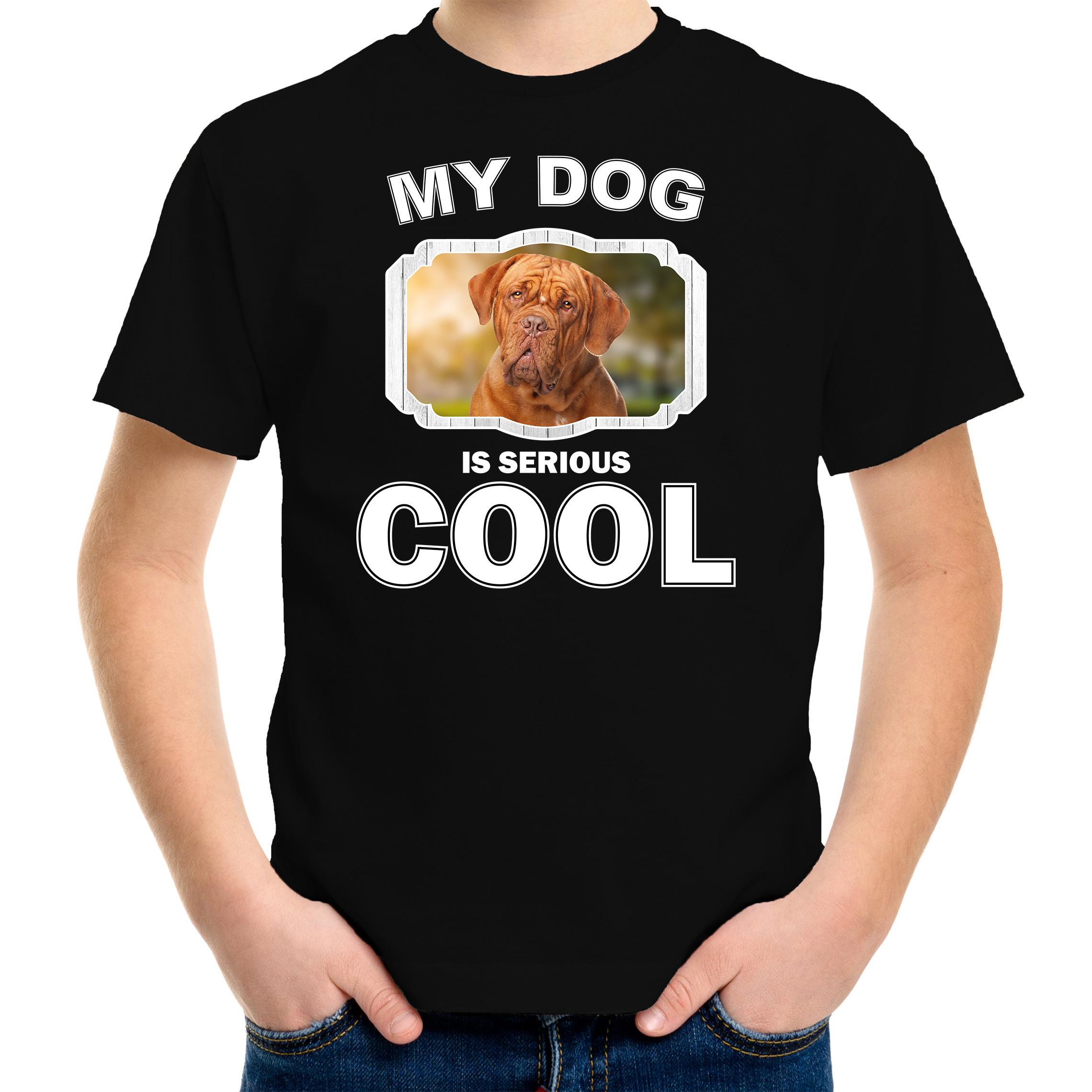 Honden liefhebber shirt Franse mastiff my dog is serious cool zwart voor kinderen