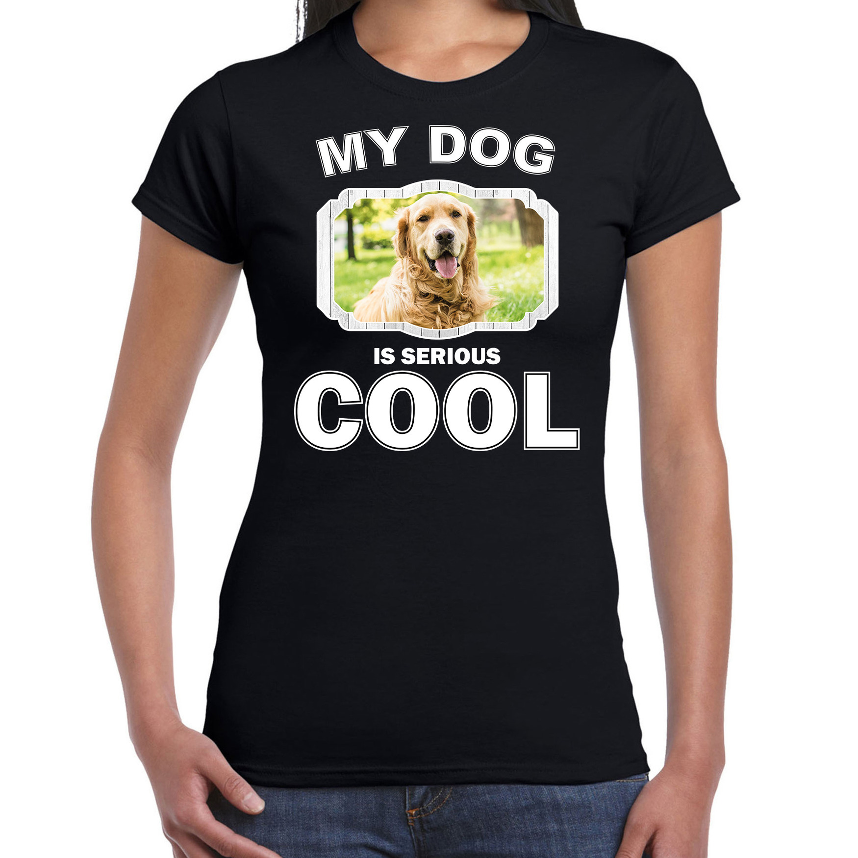 Honden liefhebber shirt Golden retriever my dog is serious cool zwart voor dames