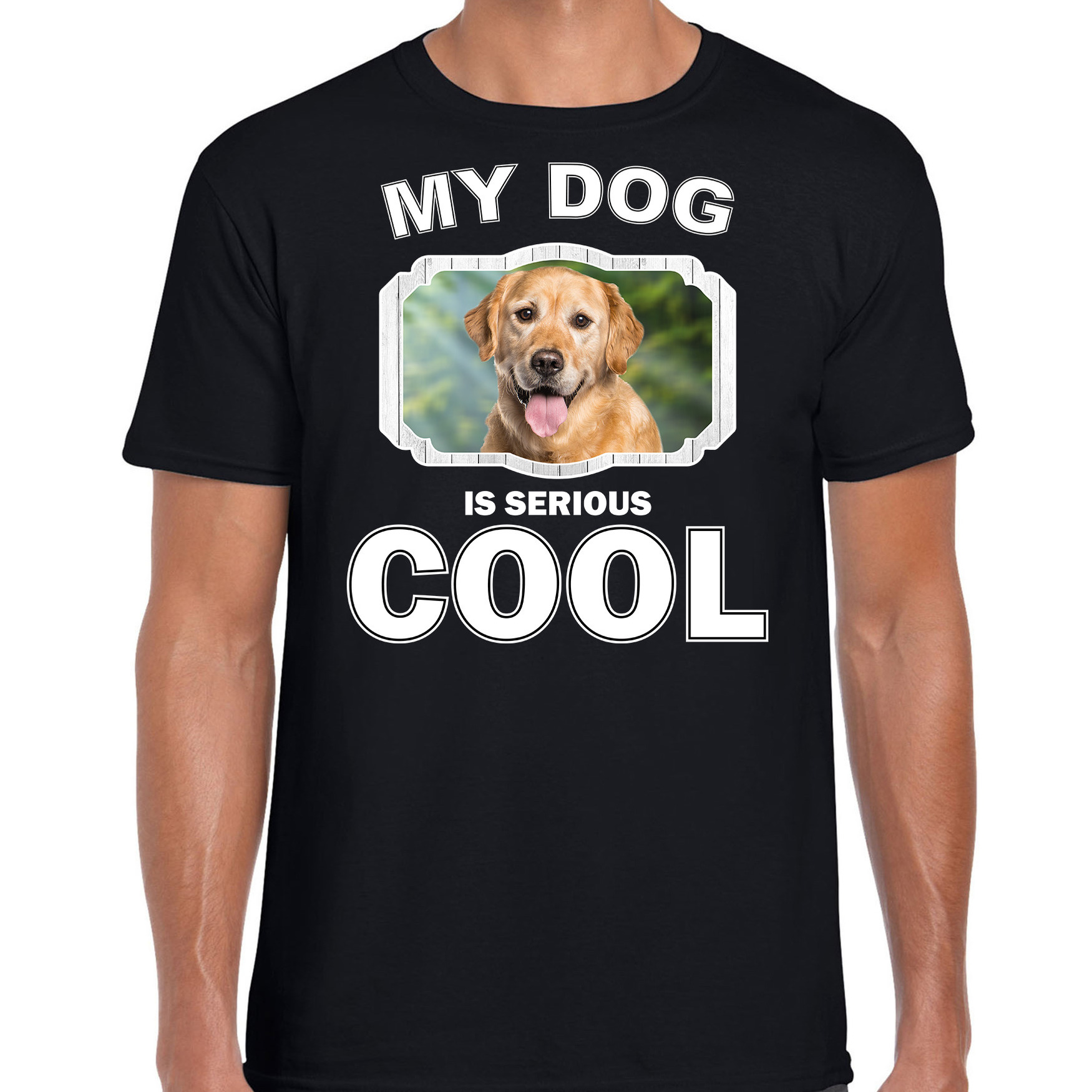 Honden liefhebber shirt Golden Retriever my dog is serious cool zwart voor heren