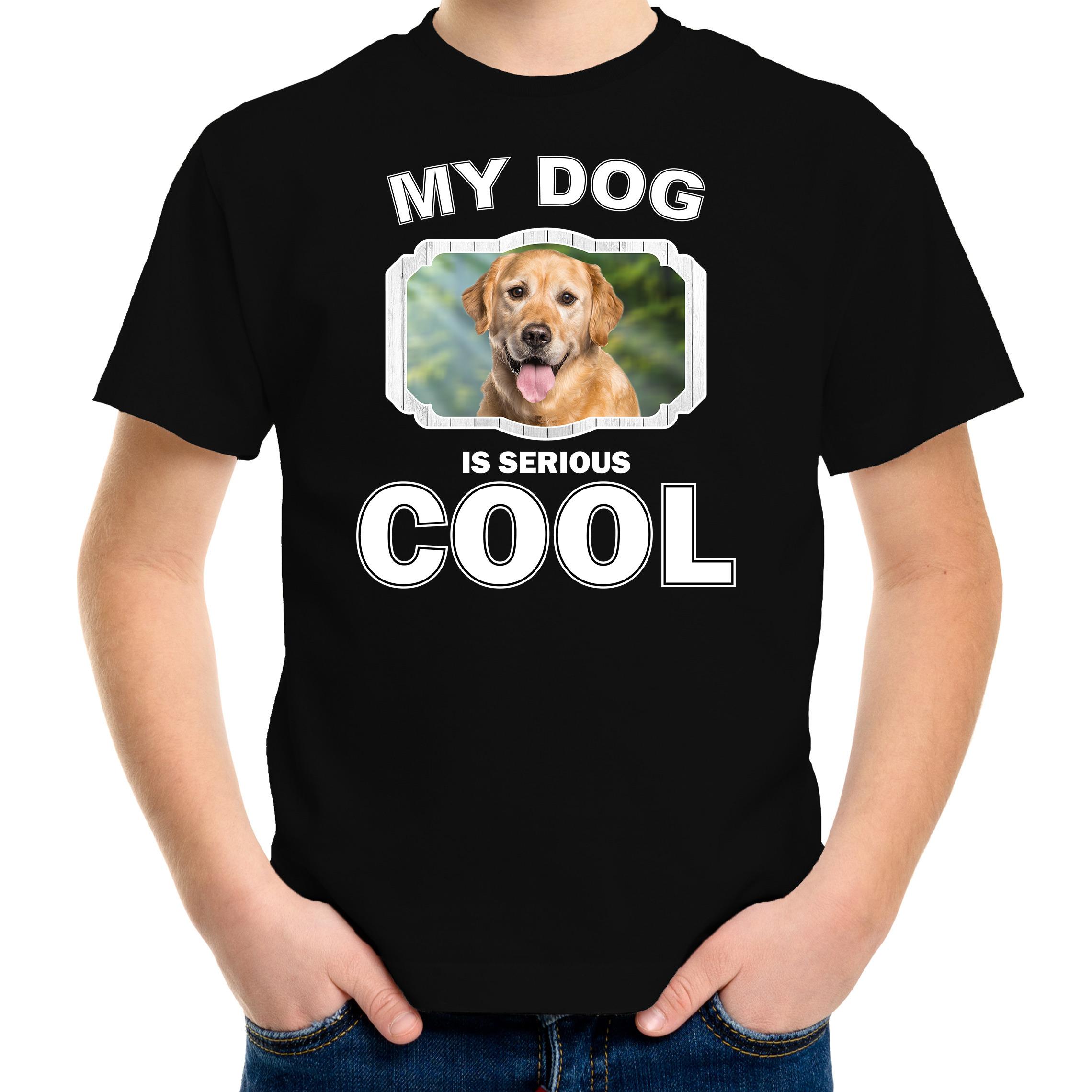 Honden liefhebber shirt Golden retriever my dog is serious cool zwart voor kinderen