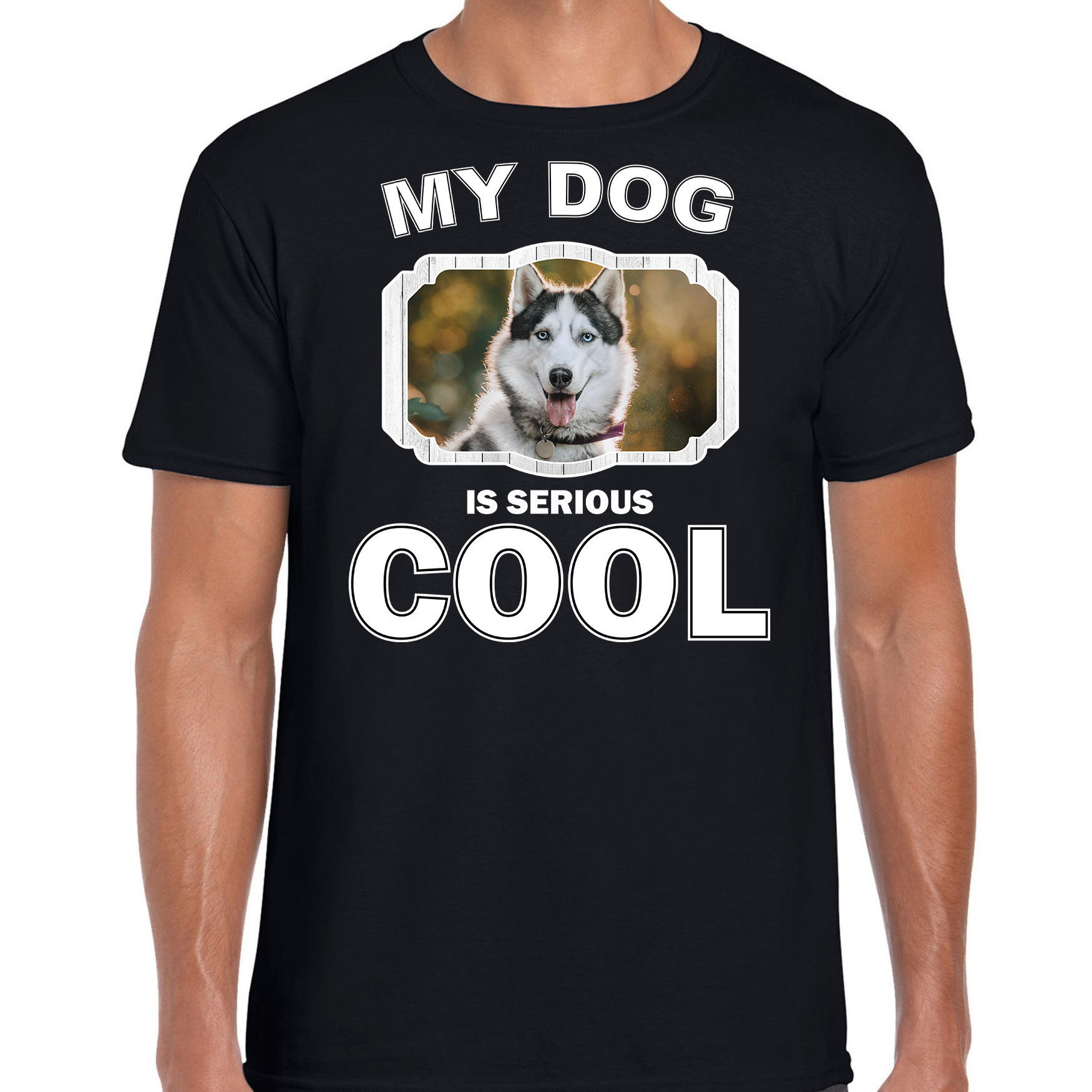 Honden liefhebber shirt Husky my dog is serious cool zwart voor heren