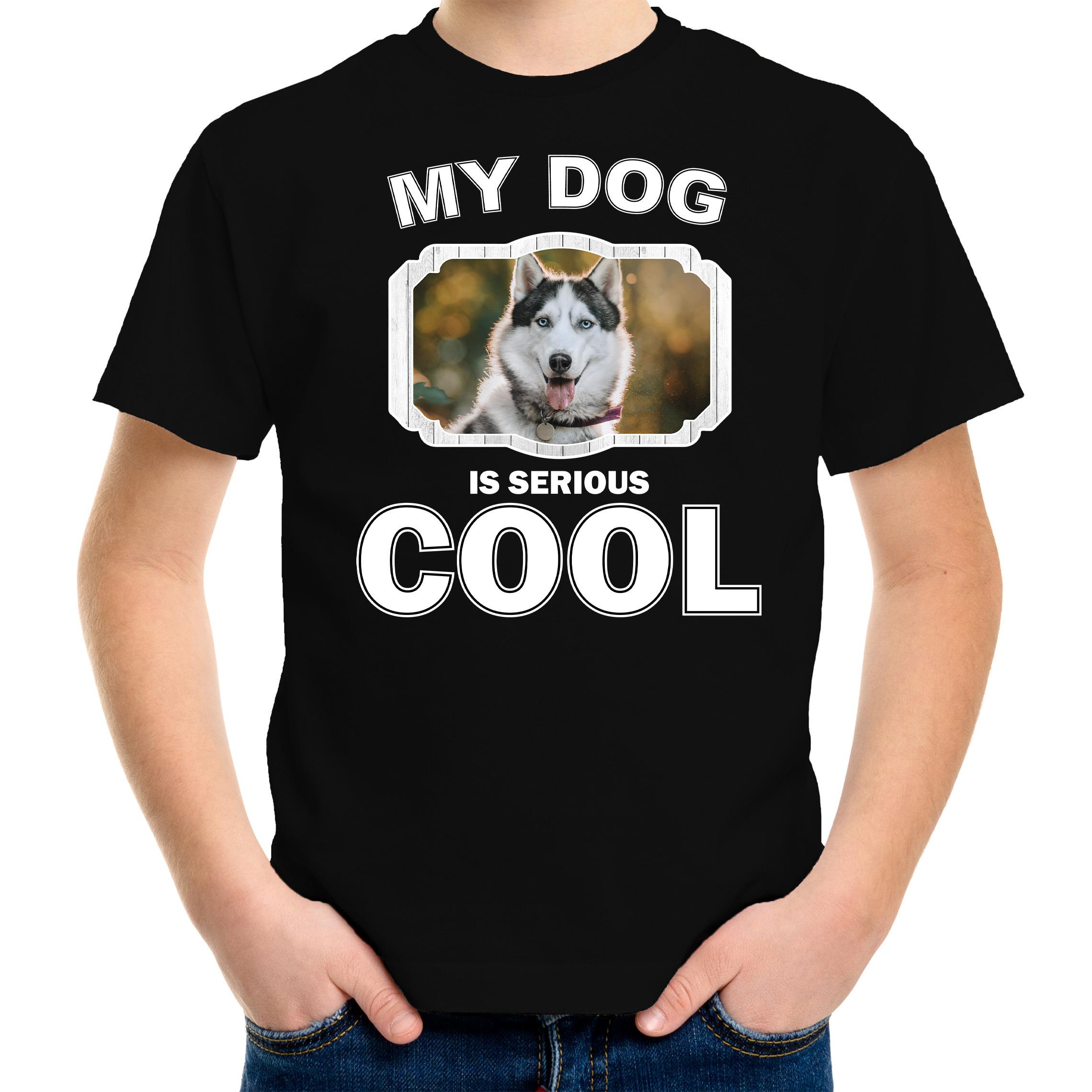 Honden liefhebber shirt Husky my dog is serious cool zwart voor kinderen